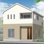 新潟市秋葉区中野の新築住宅の1号棟外観完成予定パース