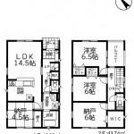 新潟市江南区天野の新築住1号棟宅の間取り図