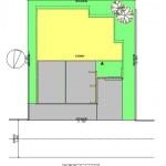 新潟市中央区神道寺の土地の建物プラン例(配置図)