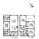 新潟市江南区天野の新築住2号棟宅の間取り図