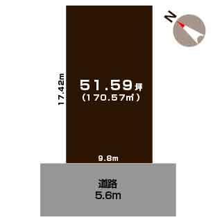 新潟市中央区山二ツの土地の敷地図