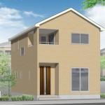 新潟市江南区天野の新築住宅1号棟の外観完成予定パース