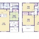 新潟市東区桃山町の新築住宅の間取り図