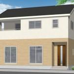 新潟市秋葉区程島の新築住宅の外観完成予定パース