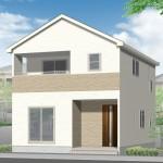 新潟市東区桃山町の新築住宅の外観完成予定パース