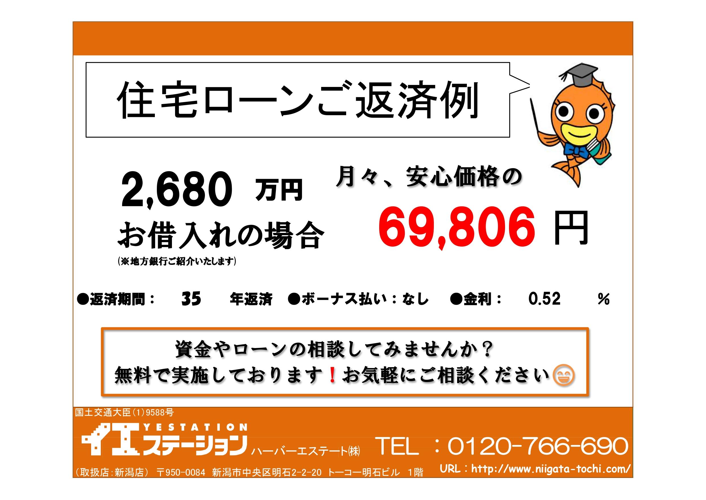 新潟市秋葉区さつき野の中古住宅の住宅ローン返済例