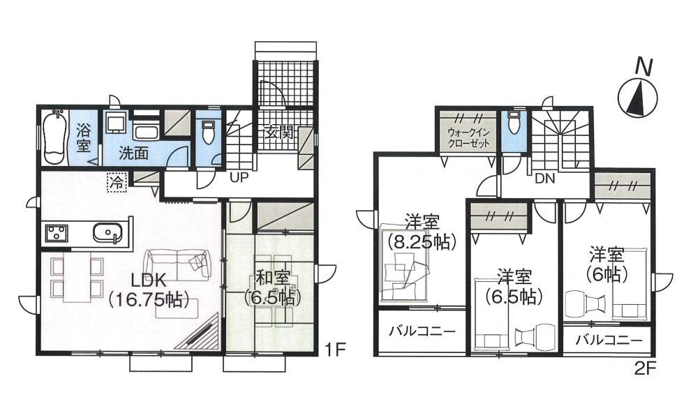 新発田市住吉町(1号棟)の新築住宅の間取り図