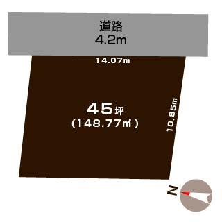 新潟市中央区紫竹山の土地の敷地図