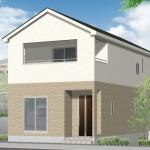 新潟市東区竹尾の新築住宅(1号棟)の外観完成予定1号棟パース