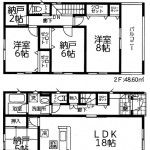 新潟市江南区曽野木の新築住宅の1号棟間取り図