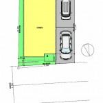 新潟市東区山の下町の土地の建築プラン例の配置図