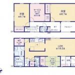 新潟市江南区曽野木の新築住宅の2号棟間取り図