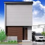 新潟市東区山の下町の土地の建築プラン例の外観パース