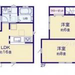 新潟市江南区所島の新築住宅1号棟の間取り図