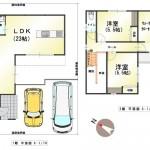 新潟市東区上木戸の新築住宅のB棟間取図