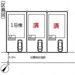 新潟市東区中野山の新築住宅の配置図