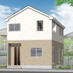新潟市東区東中野山の新築住宅(1号棟)の外観完成予定パース