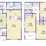 新潟市東区中野山の新築住宅の間取図