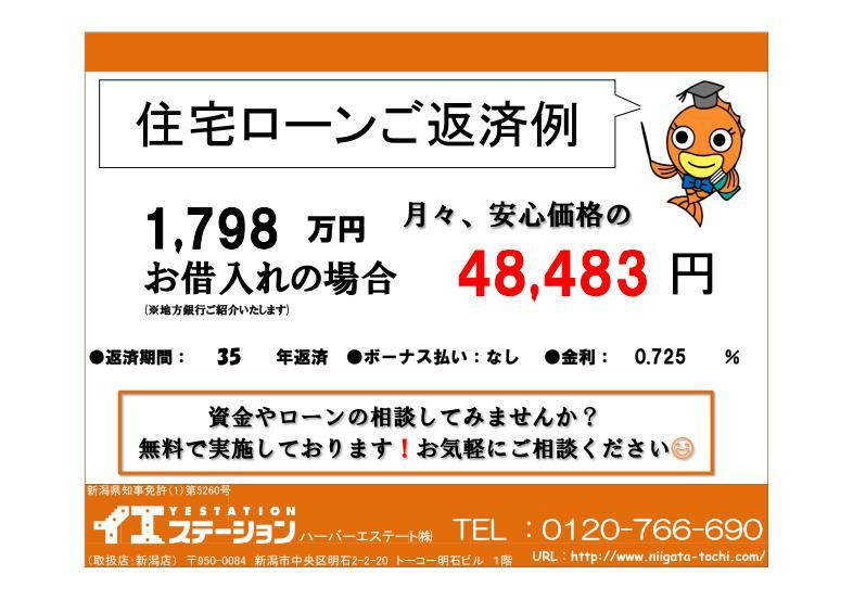 新発田市緑町の中古住宅の住宅ローン返済例