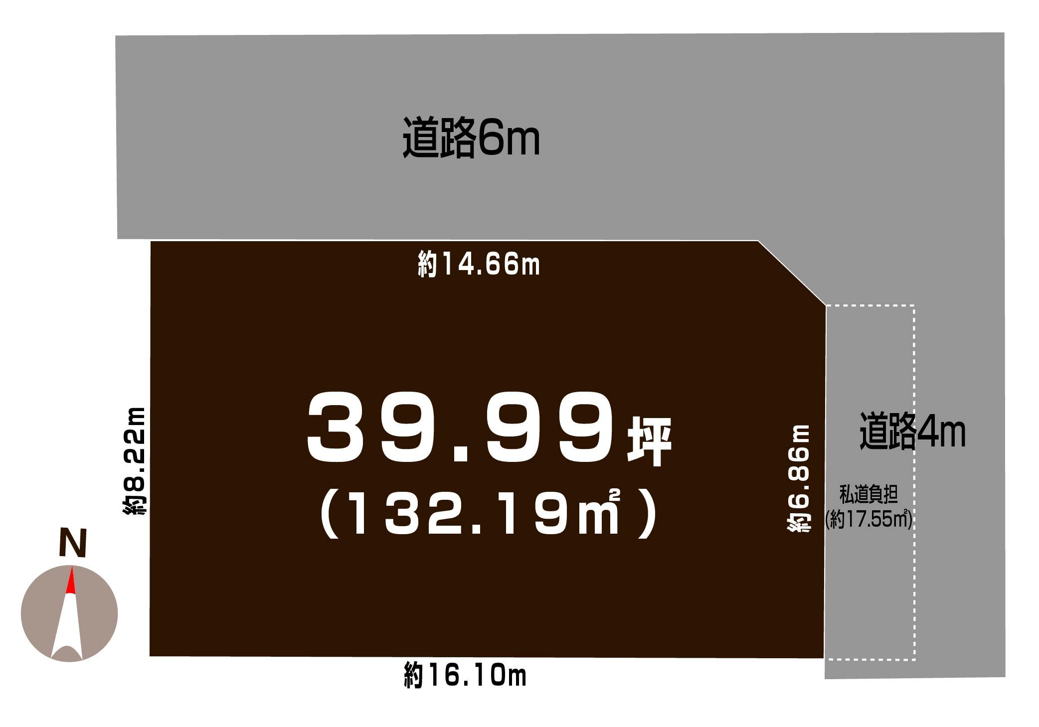 新潟市中央区鳥屋野の【土地・分譲地《全2区画》】不動産情報の敷地図