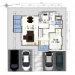 新発田市緑町の中古住宅の配置図