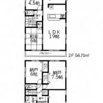新潟市東区石山の新築住宅【2号棟】の間取図