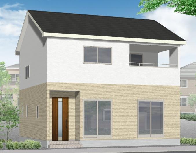 新潟市江南区横越中央の新築住宅の外観完成予定パース