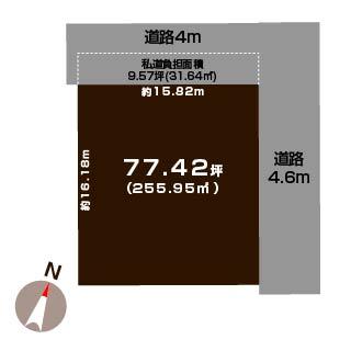 中央区和合町の土地の敷地図