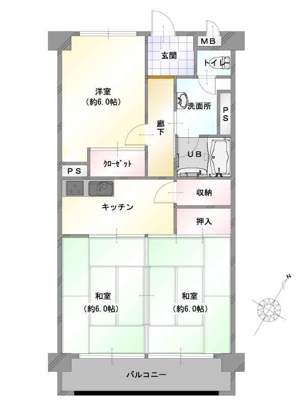 新潟市中央区上所の【中古マンション《上所マンションA棟》】の間取図