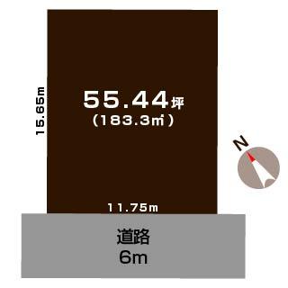 新発田市新富町の土地の敷地図