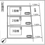 秋葉区金沢町の新築住宅の配置図