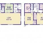 秋葉区金沢町の新築住宅3号棟の間取図