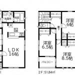 西区寺尾東3丁目の新築住宅2号棟の間取図