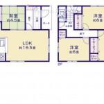秋葉区金沢町の新築住宅1号棟の間取図