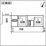 新潟市東区津島屋の新築住宅の配置図