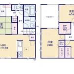 新潟市東区津島屋の新築住宅(1号棟)の間取図