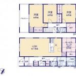 新潟市東区江南の新築住宅1号棟の間取図