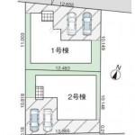 新潟市西区山田の新築住宅の配置図