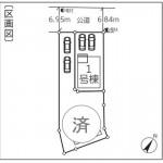 新潟市北区三軒屋町の新築住宅の配置図