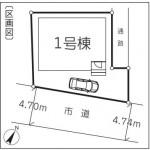 新潟市中央区本馬越1丁目の新築住宅の配置図