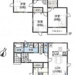 新潟市西区山田の新築住宅2号棟の間取図