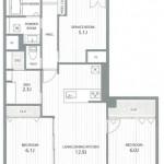 中央区東堀通11番町のマンションの間取図