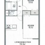 新潟市西区青山2丁目のマンションの間取図