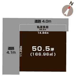 新潟市東区中山の【土地】不動産情報の敷地図