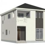 新潟市秋葉区下興野町の新築住宅5号棟の外観完成予定パース
