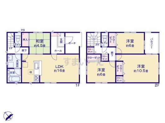 新発田市御幸町1号棟の新築住宅の間取図