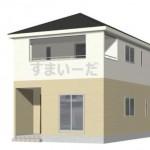 新潟市秋葉区下興野町の新築住宅2号棟の外観完成予定パース