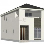 新潟市秋葉区下興野町の新築住宅4号棟の外観完成予定パース