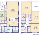 新潟市東区浜町3号棟の新築住宅の間取図