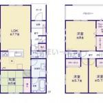 新潟市秋葉区下興野町の新築住宅1号棟の間取図